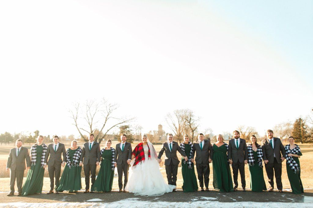 Winter Wedding Green And Gold Wedding Party Bridesmaids Photos Wedding Party Photos Winter Wedding