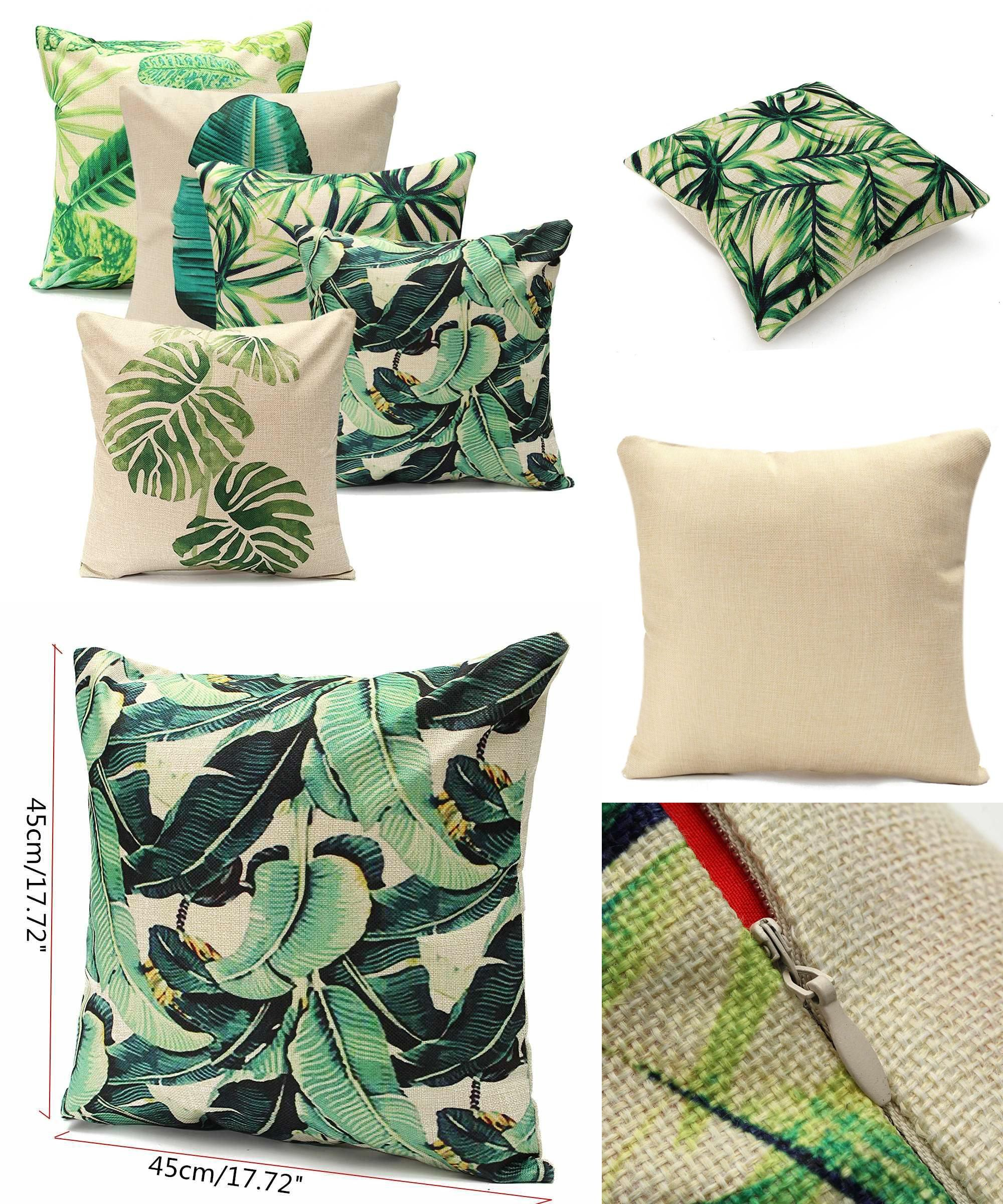Visit to buy pillowcases green leaf cotton linen cushion pillow