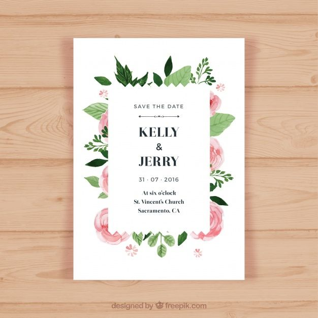 Pretty wedding invitation with pink flowers Free Vector Card - fresh invitation banner vector