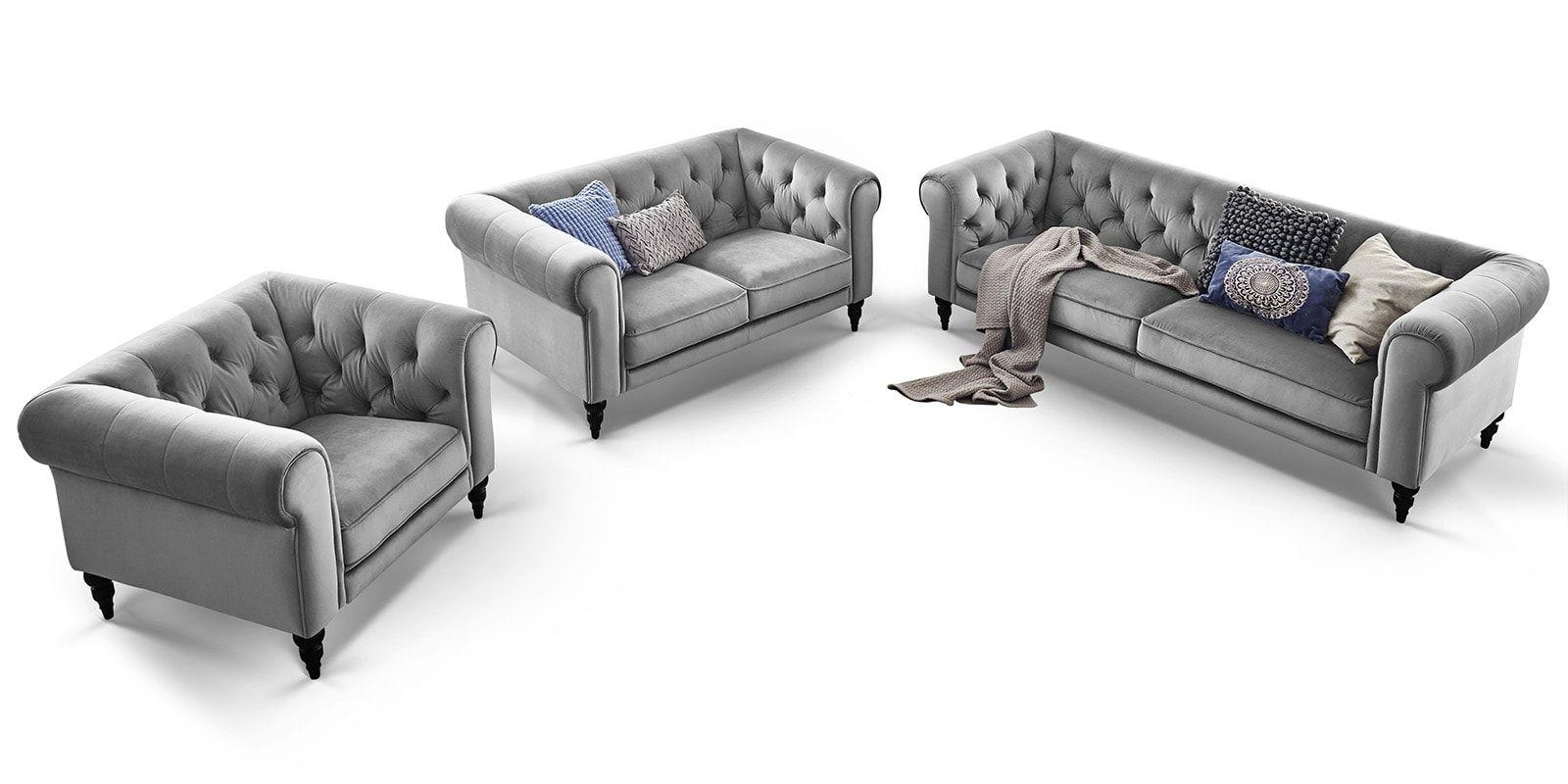 3 2 1 Sitzer Chesterfield Sitzgarnitur Samt Hudson Comfort2home Sitzgarnitur Sitzen Wohnzimmer