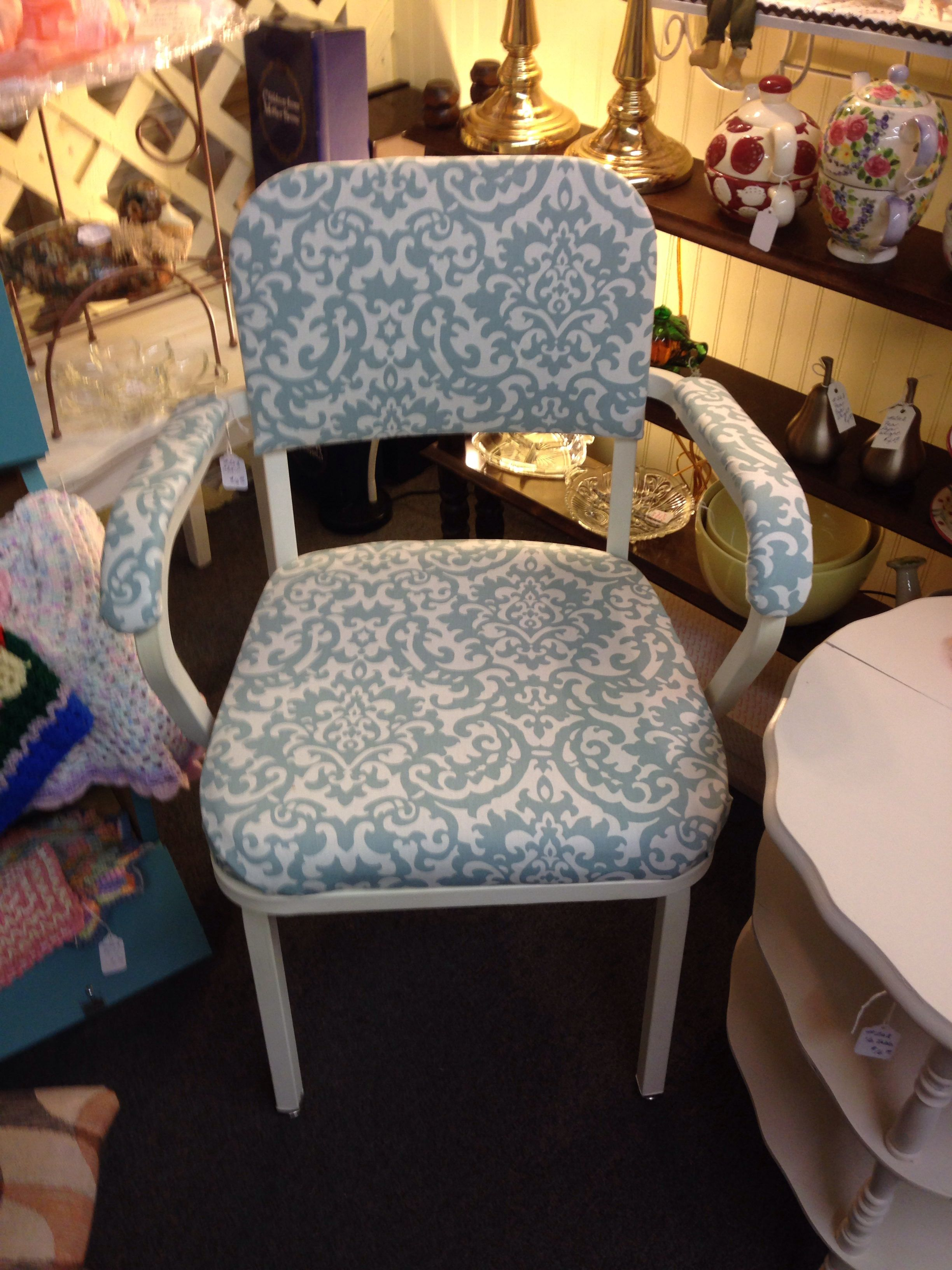 Super cute metal office chair reupholstered to give it some elegant style!! Only 16 from vendor 263!!