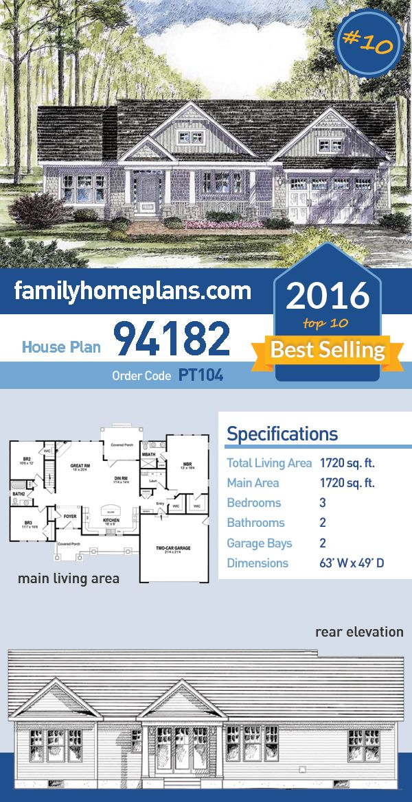 10 of 2016 39 s top ten best selling house plans house plan for Best selling house plans 2016