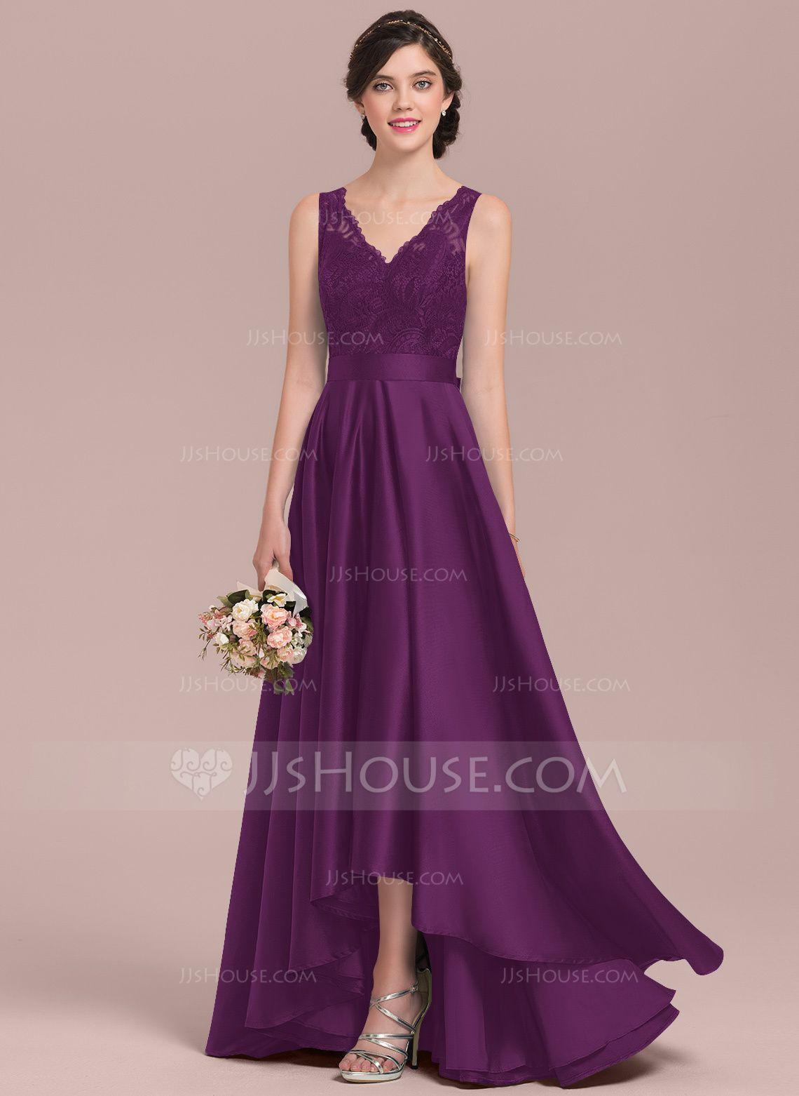 [AU$ 211.00] A-Line V-neck Asymmetrical Satin Lace Bridesmaid Dress - JJ's House #lacebridesmaids