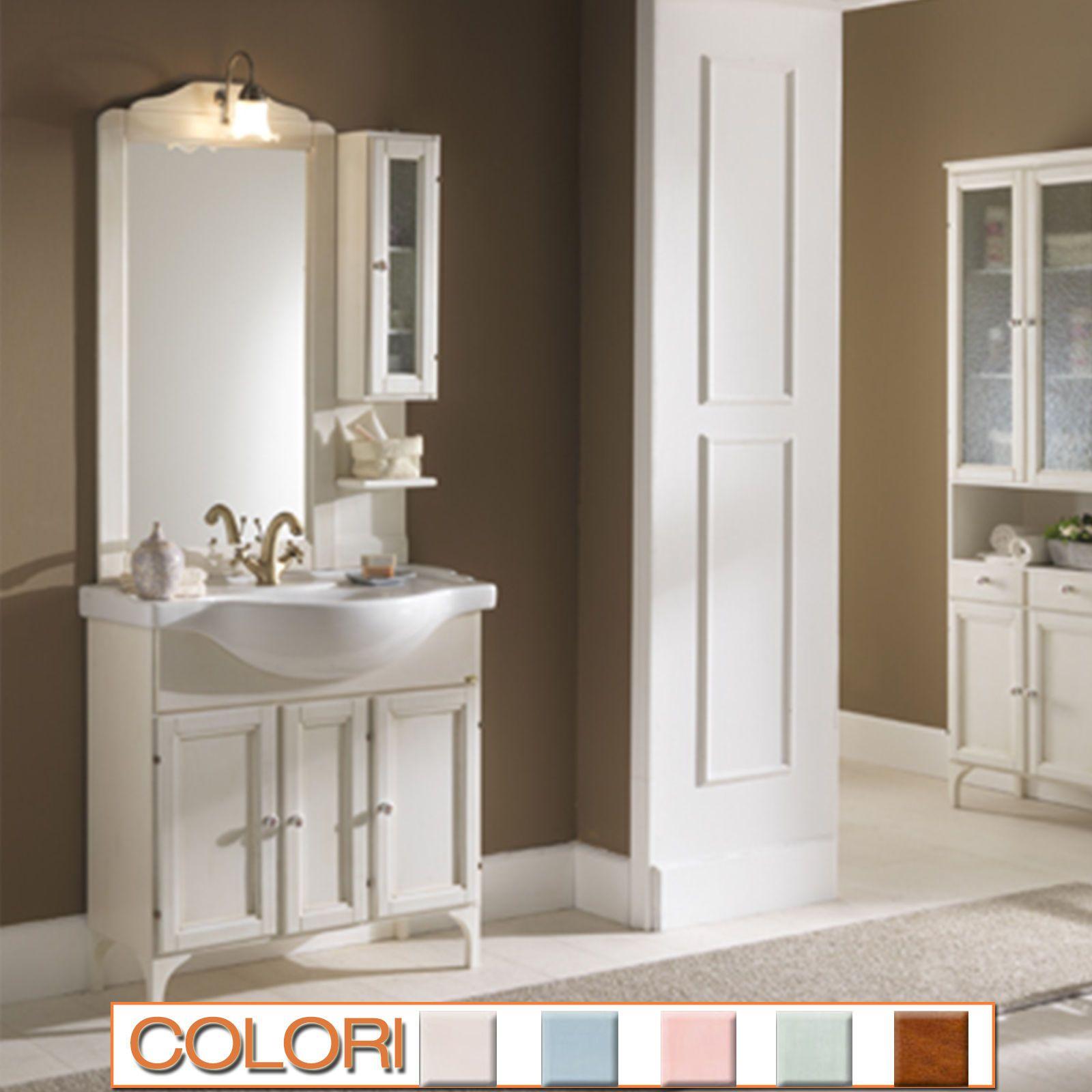 Mobile bagno classico bianco cm 85 con lavabo retr pensile laterale specchio ebay idee casa - Mobile bagno classico bianco ...