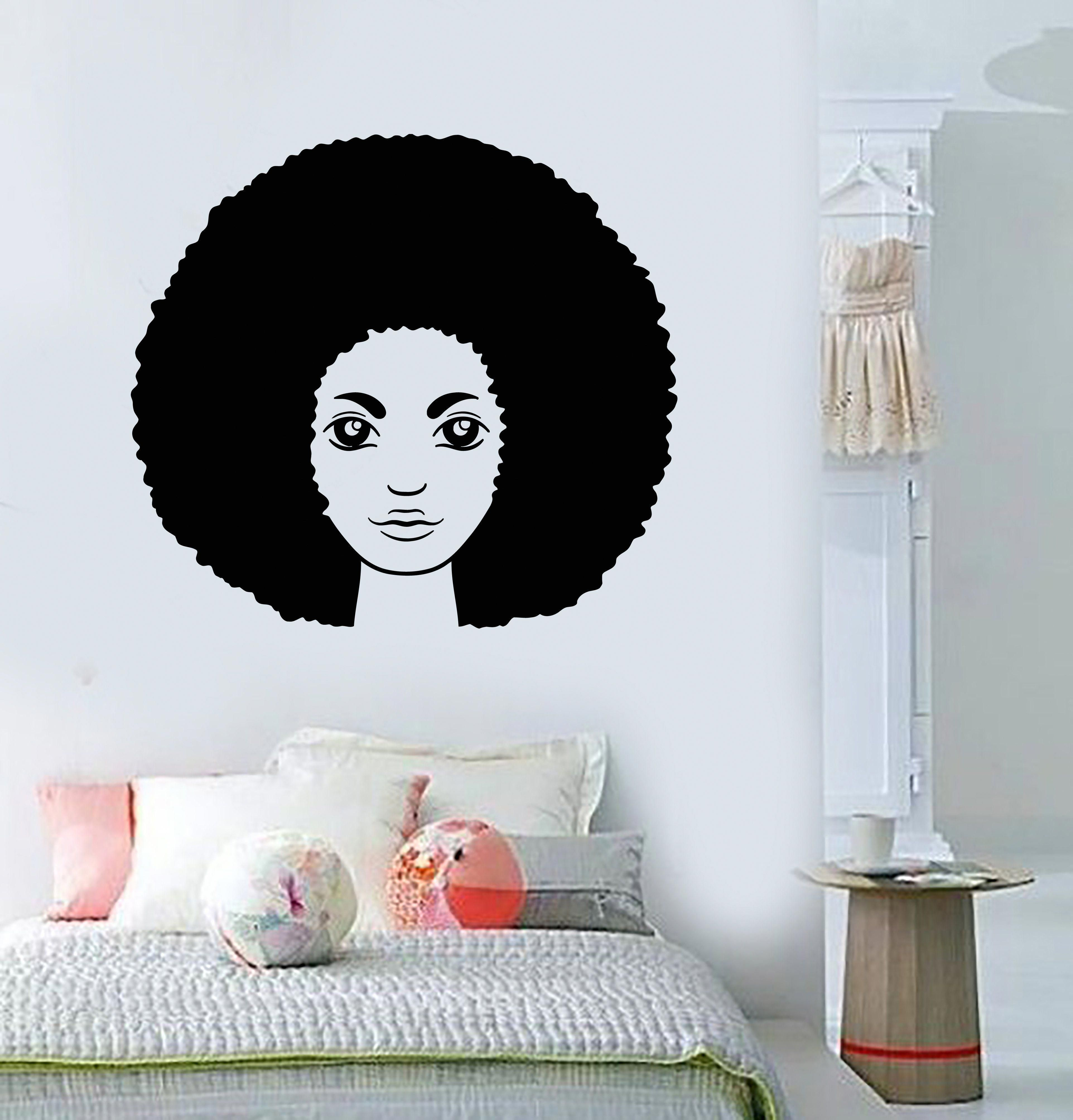 Vinyl wall decal african hairstyle hair woman black girl head