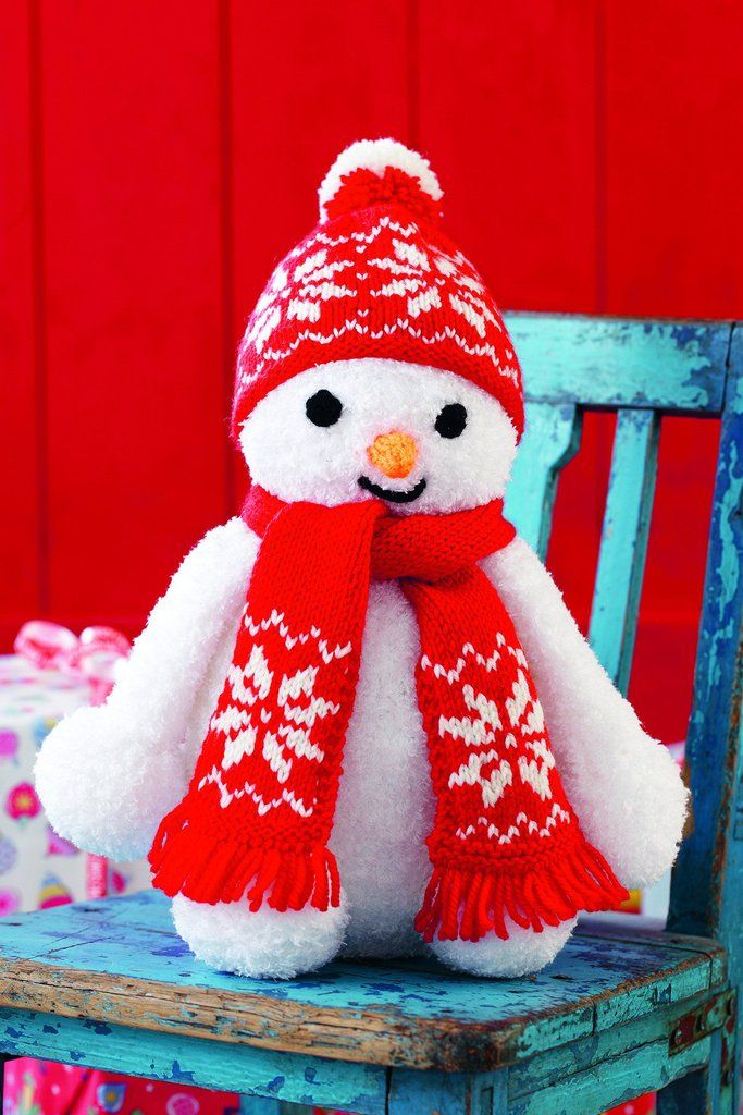 Knitted toy snowman with red scarf and bobble hat | Scarf ...