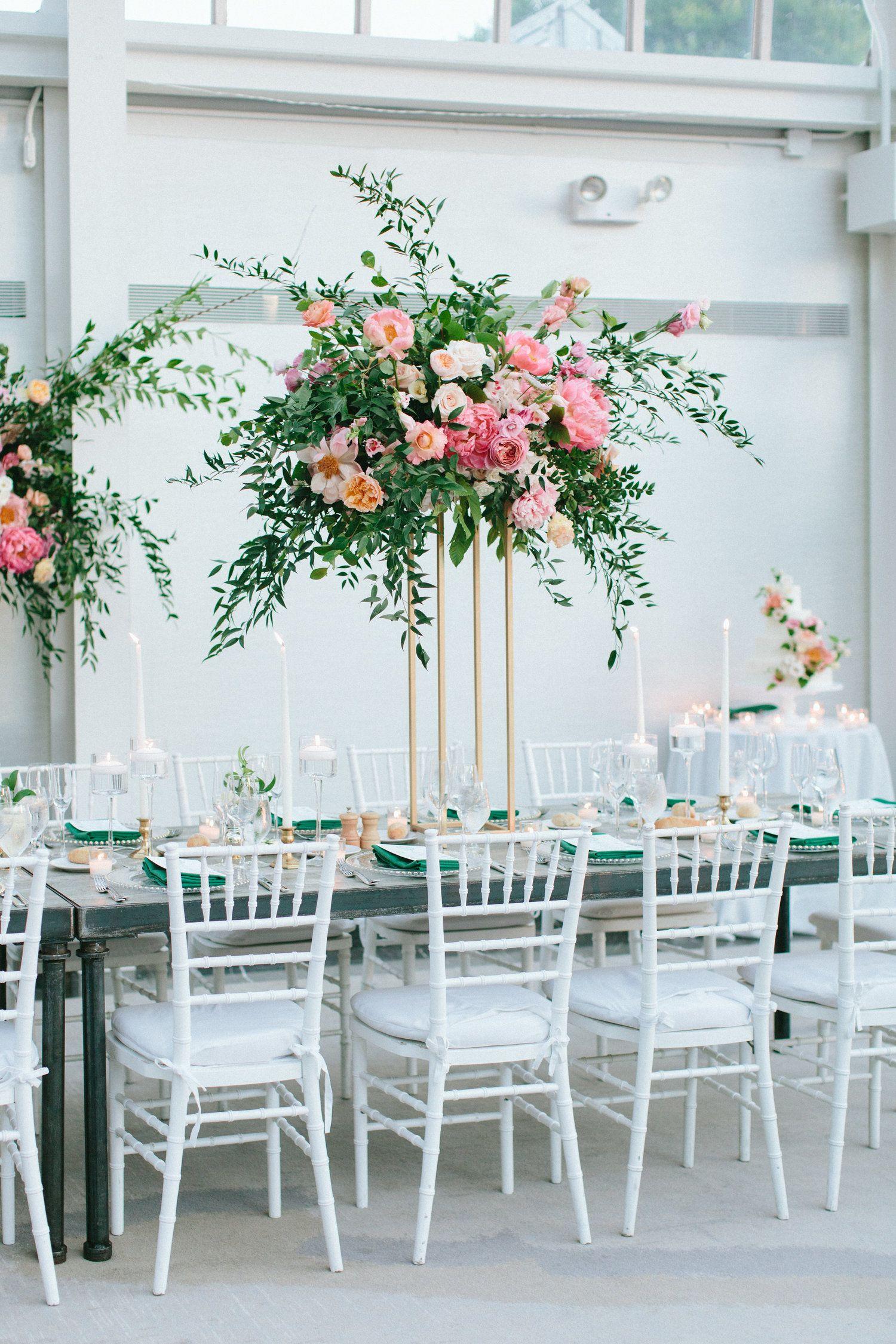 Organic Greenery Shades Of Pink Tall Centerpiece Photo By Sasithon Photograph Flower Centerpieces Wedding Wedding Table Centerpieces Wedding Centerpieces