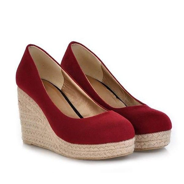 6dd10112efba Suede Upper Pure Color Close Toe Casual Wedges   Womens Wedges Shoes Wedge  Shoes