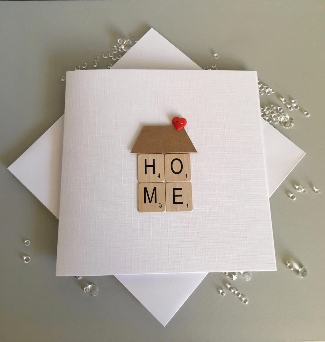 Free UK Delivery House Hand Crafted Card New Home with handmade bunting