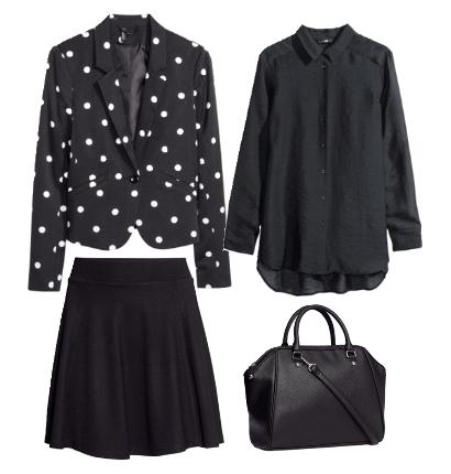 black jacket with polka dots, skirt, fashion look