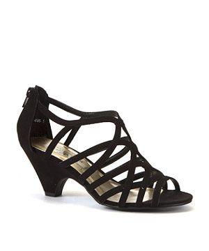 Black (Black) Black Strappy Mid Heel Sandals | 276949501 | New ...
