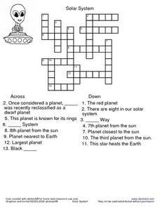 Solar System Crossword Puzzle Worksheet Activities Crossword