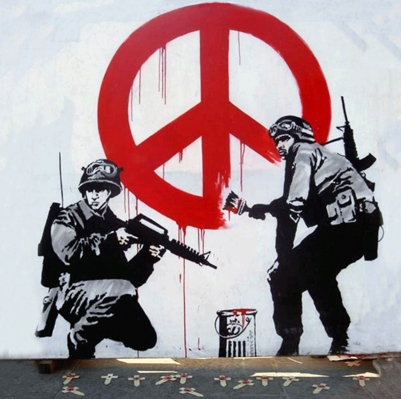 Banksy Street Art Peace Troop Graffiti Tee T-shirt XL