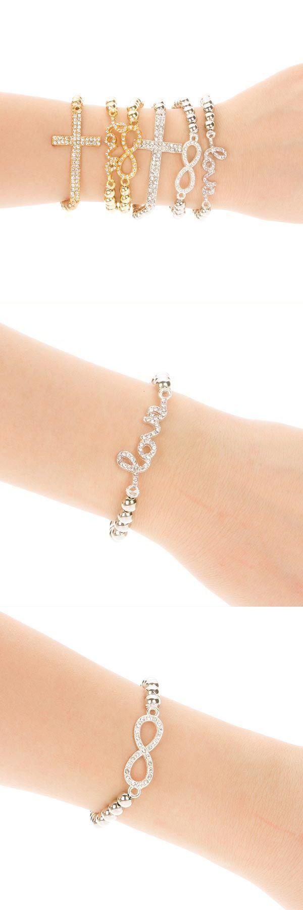 Elastic Rhinestone Bead Love Infinity Cross Bracelet Silver Gold Bracelets Vine 2 Together 99p Mattyb