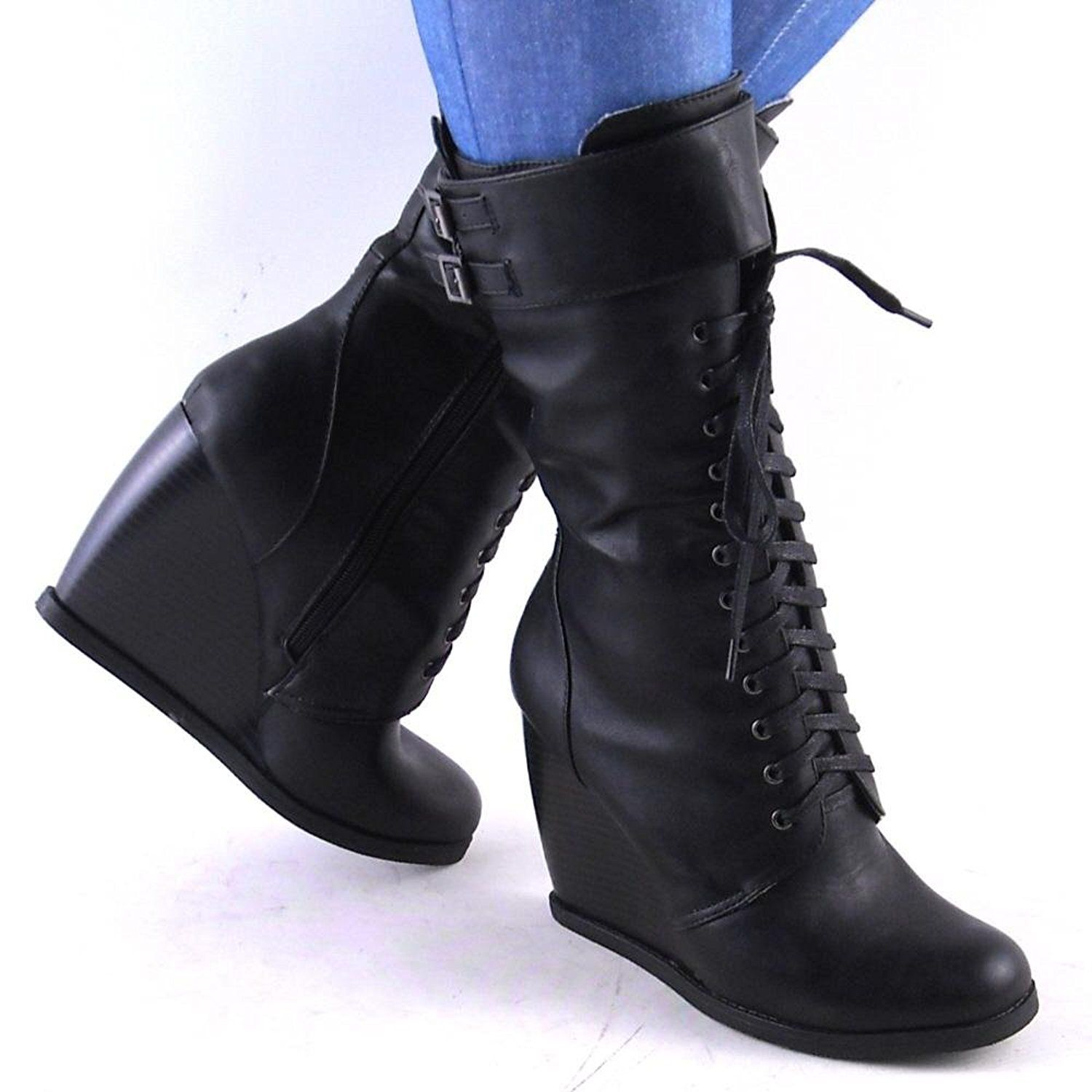 23d453465b2 Lilly by Dollhouse Womens Black Laceup High Wedge Heel Combat Boots      Check out this great product. (This is an affiliate link and I receive a  commission ...