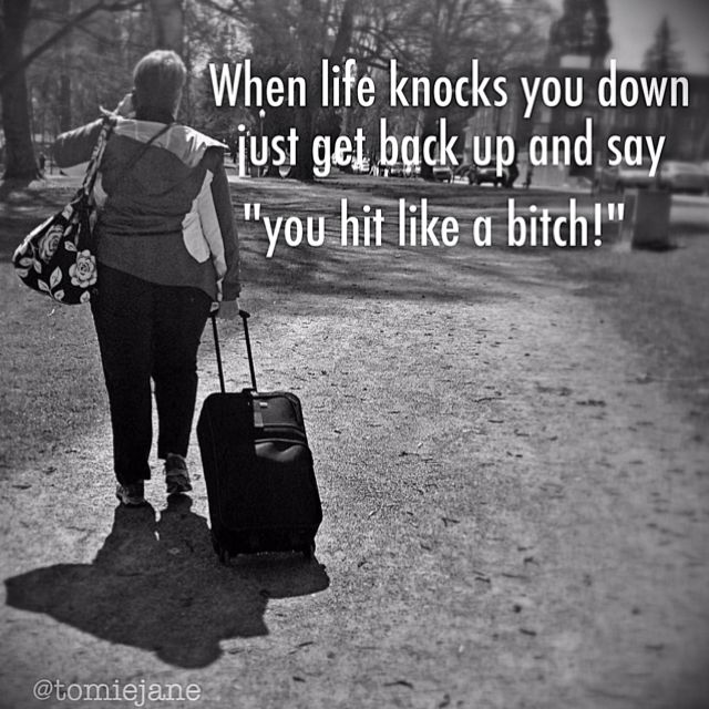 "When life knocks you down, just get back up and say ""you hit like a bitch!"""