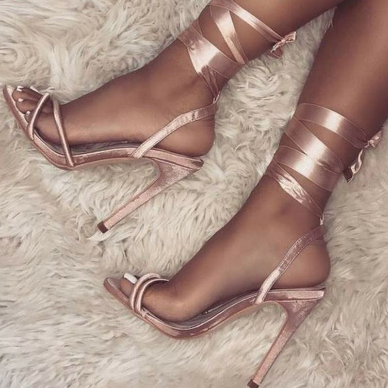6d7e312fb26 Shoespie Open Toe Lace-Up Stiletto Heel Sandals