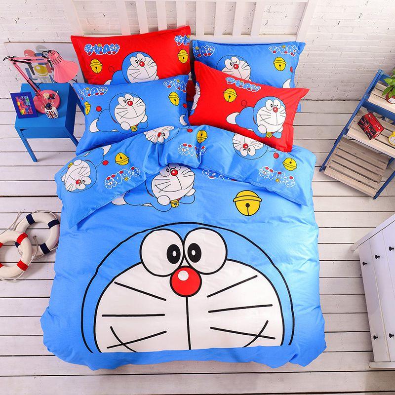 Home Textile Cartoon 3d Doraemon Bedding Set 100% Cotton Bed Linen 3-4pcs  Duvet 610d497fd576e