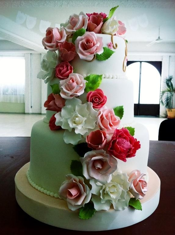 Cascading Flower Wedding Cake I Would Do The Flowers In