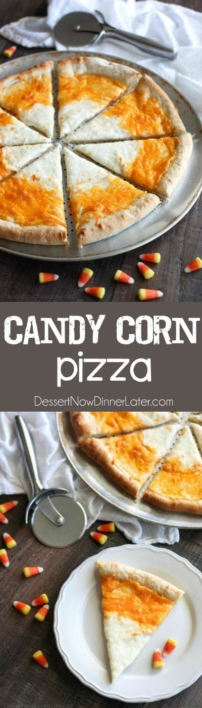 Make this easy & fun Candy Corn Pizza for Halloween dinner!
