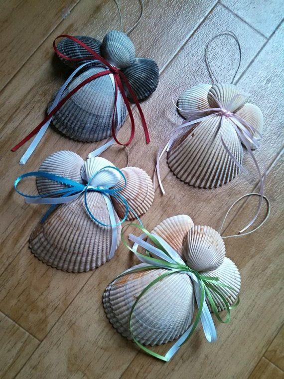 Seashell angel christmas tree ornament made to by for Christmas tree ornaments made from seashells