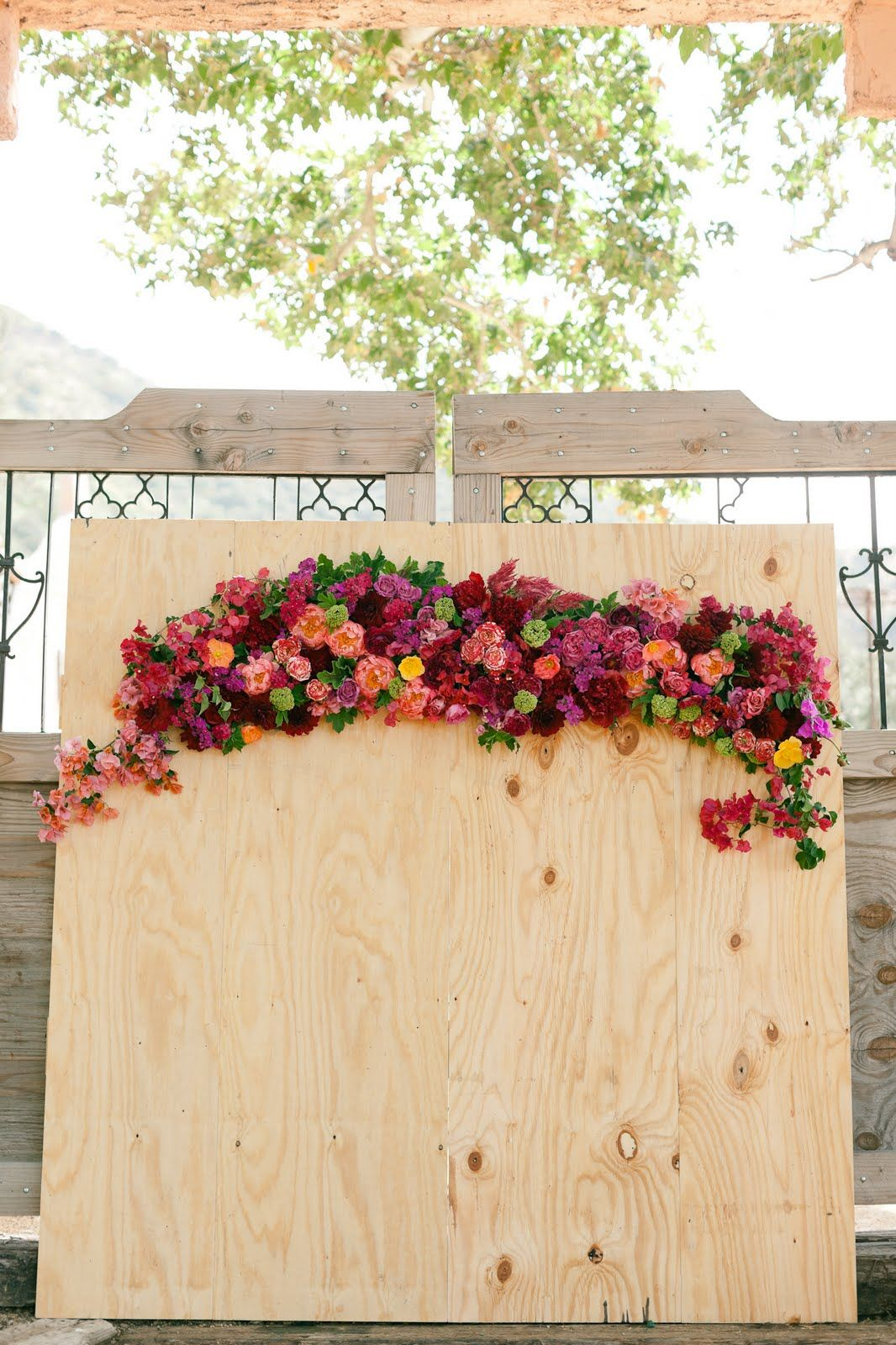 Floral Swag on Wood Backdrop | Ceremony Flowers | Pinterest ...
