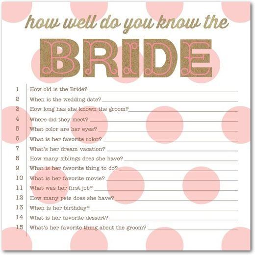 Signature White Bridal Shower Games