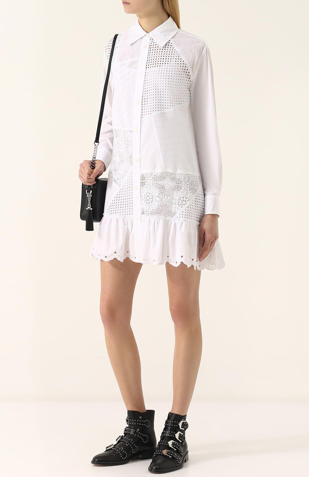 8237f8cb39b Женское белое хлопковое кружевное платье-рубашка MCQ