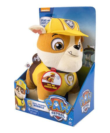 This PAW Patrol Deluxe Talking Rubble Plush Toy by PAW Patrol is perfect!   zulilyfinds 9f31949db432