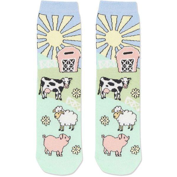 TOPSHOP Farm Scene Ankle Socks (52 NOK) ❤ liked on Polyvore featuring intimates, hosiery, socks, multi, animal socks, cotton socks, topshop, short socks and cotton ankle socks