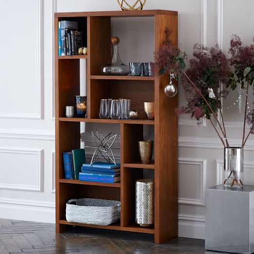 Rectangle Cutout Bookcase Pecan