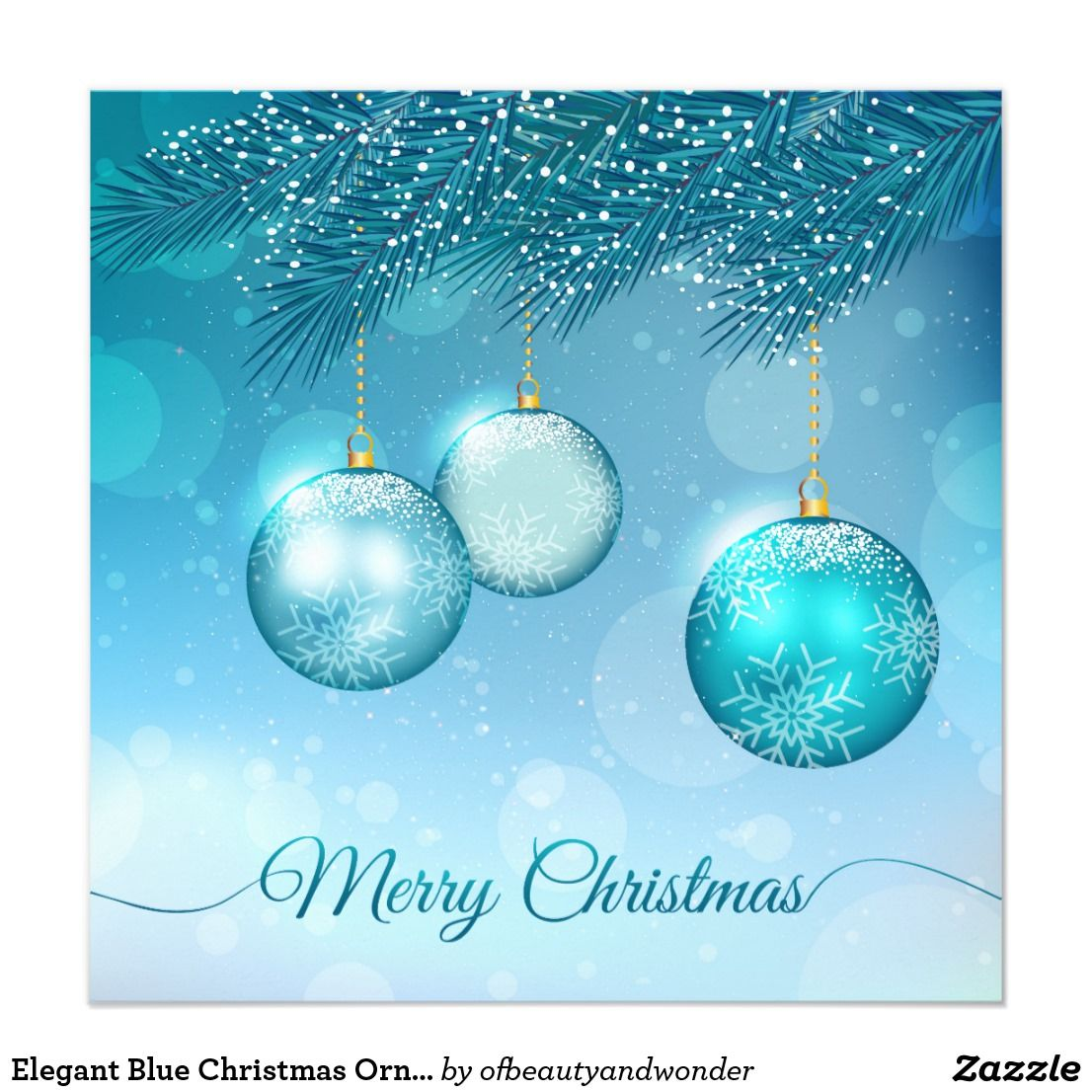 Elegant Blue Christmas Ornaments Invitation