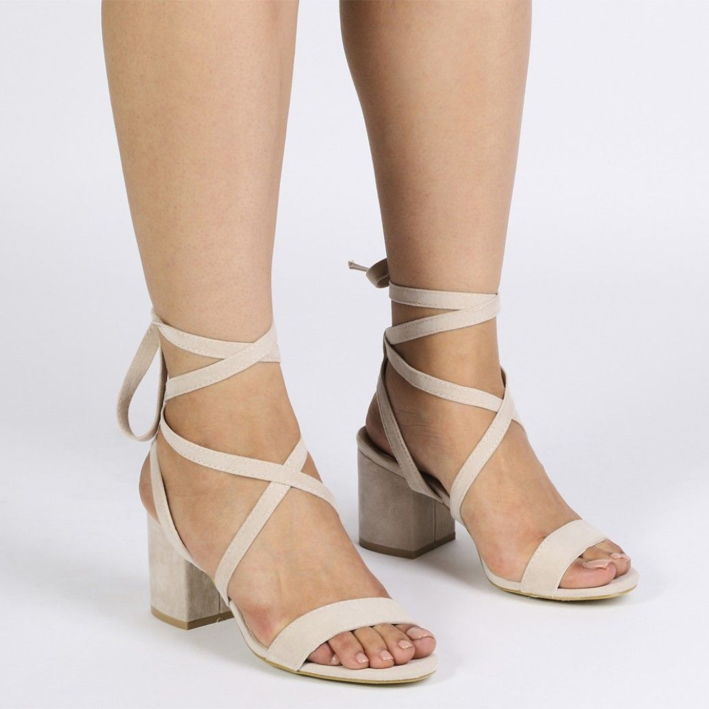 986fd380838 Sophie Heeled Sandals in Nude Faux Suede