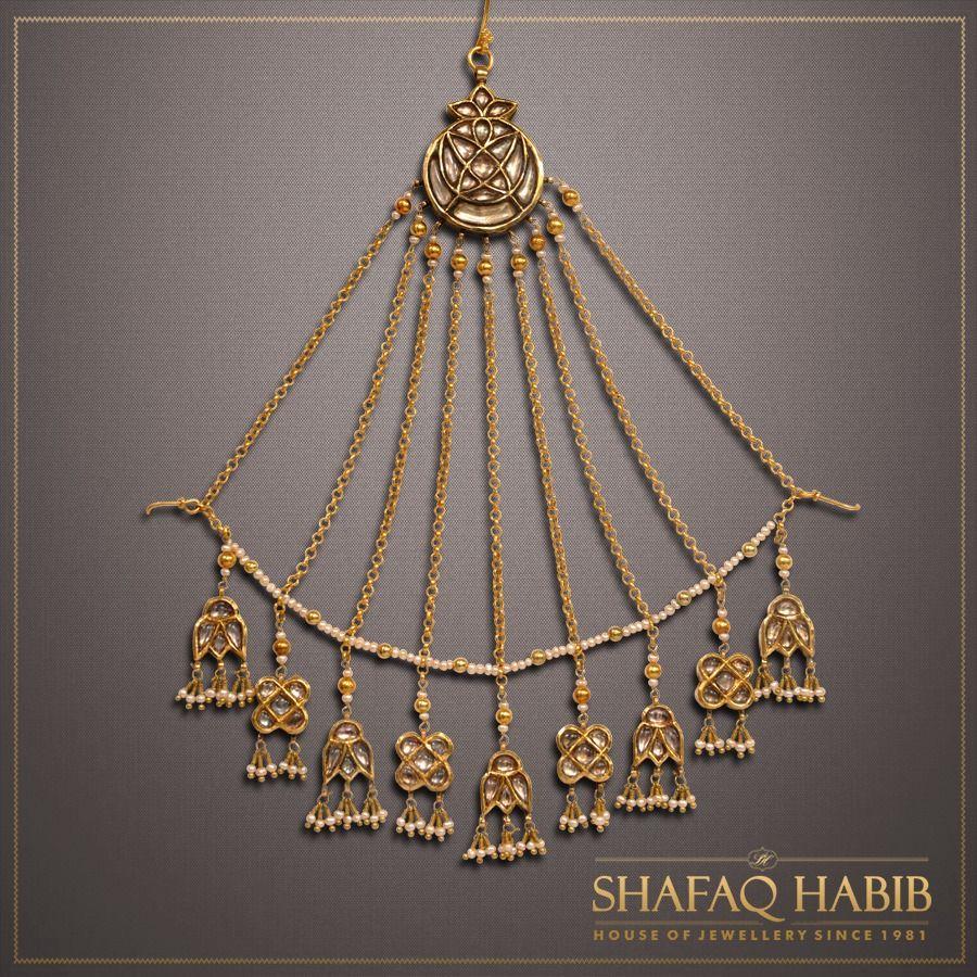 Kundan Jhumar Headpiece Jewelry Bridal Necklace Set
