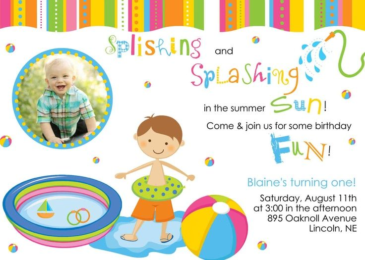 First Birthday Pool Party Invitations