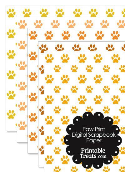 Orange Paw Print Digital Scrapbook Paper from PrintableTreats.com