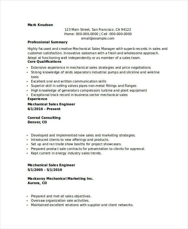 Mechanical Marketing Engineer Resume , Marketing Resume Samples - sales engineer sample resume