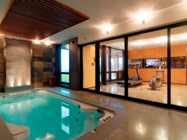 best home gym designs. Best Home Gym Designs Complete with Refreshing Nuance  Luxury Swim Spa Divided By Wide Floor