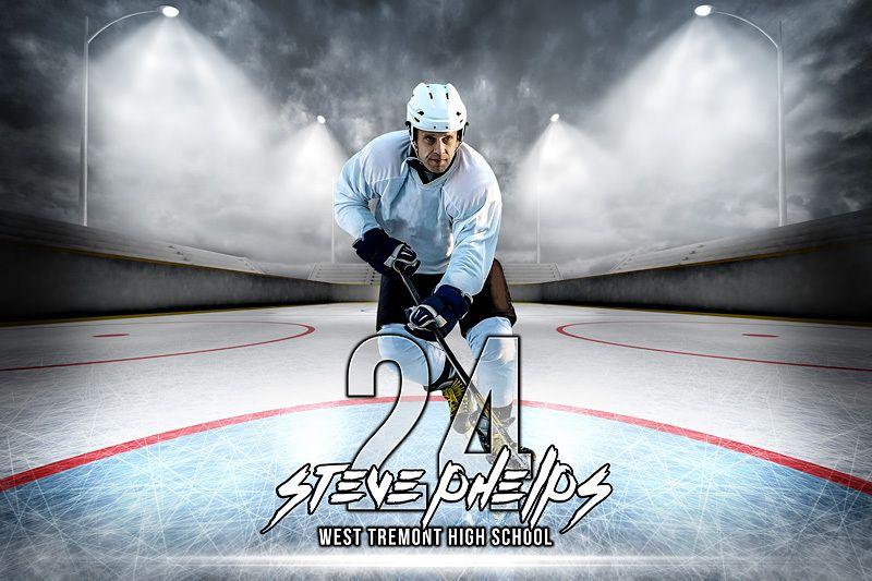 Player banner photo template - horizontal - outdoor hockey - hockey templates free