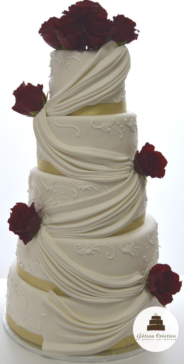 wedding cake de mariage d cor s de drap s et de fleurs commandez d s aujourd 39 hui votre g teau d. Black Bedroom Furniture Sets. Home Design Ideas