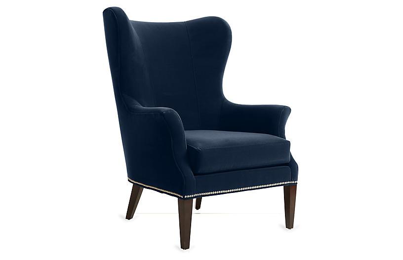 Tristen Wingback Chair Indigo Velvet Velvet Wingback Chair