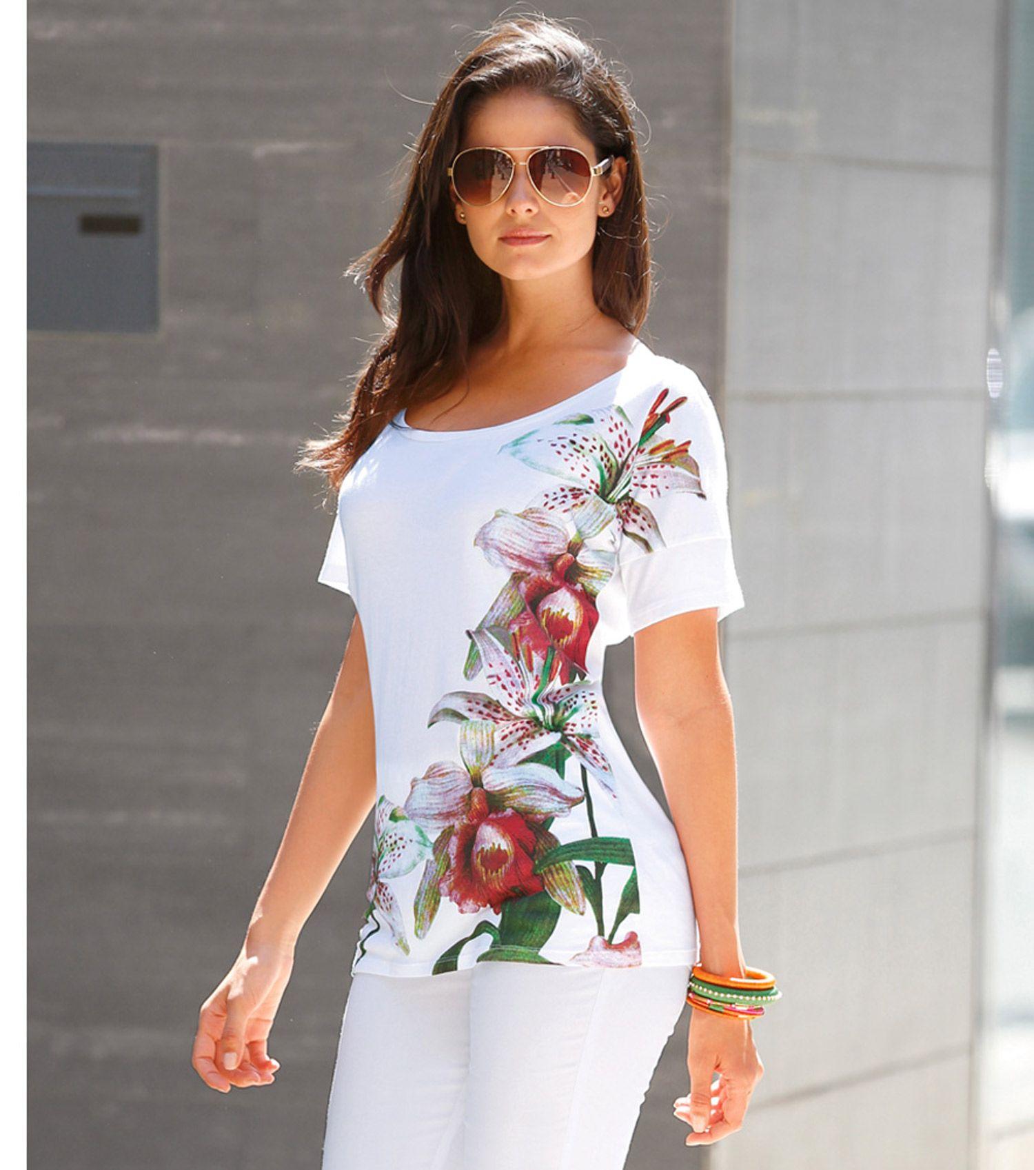b2b89f3f6399b Camiseta mujer manga corta con estampado floral Moda Mujer 10 Venca ...