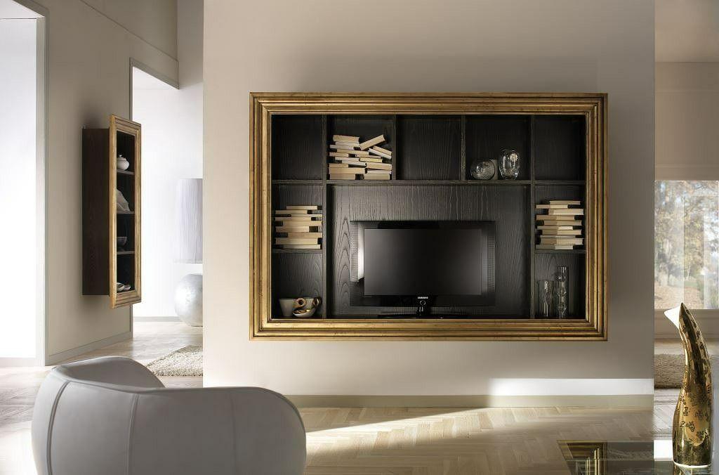 Porta Tv Foglia Oro.Porta Tv Sospeso Con Cornice Perimetrale In Foglia Oro