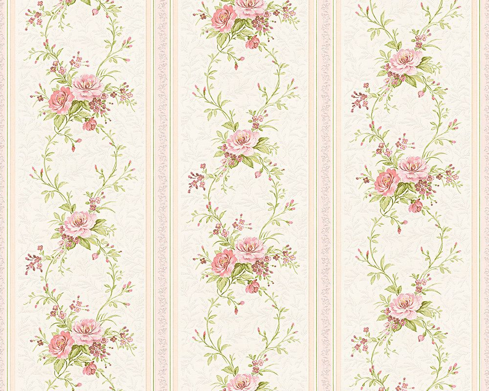 Vintage shabby Chic Floral Stripe Wallpaper White / Pink