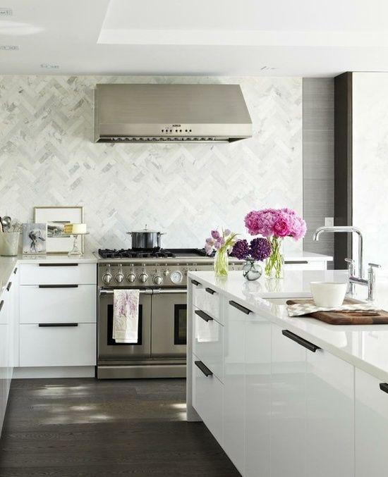 The white countertop is nice also kitchens marble chevron herringbone pattern backsplash glossy white lacquer modern kitchen