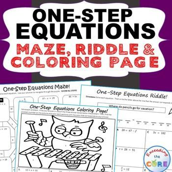 One Step Equations Maze Riddle Color By Number Coloring Page