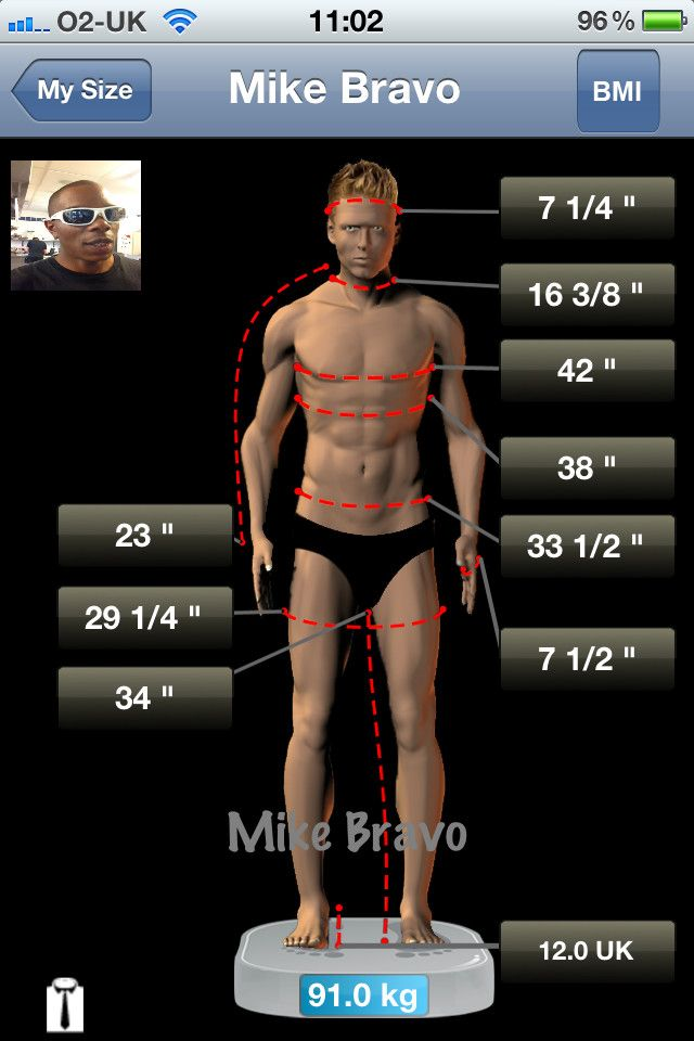 my size app allows you to enter save and track your personal body measurements