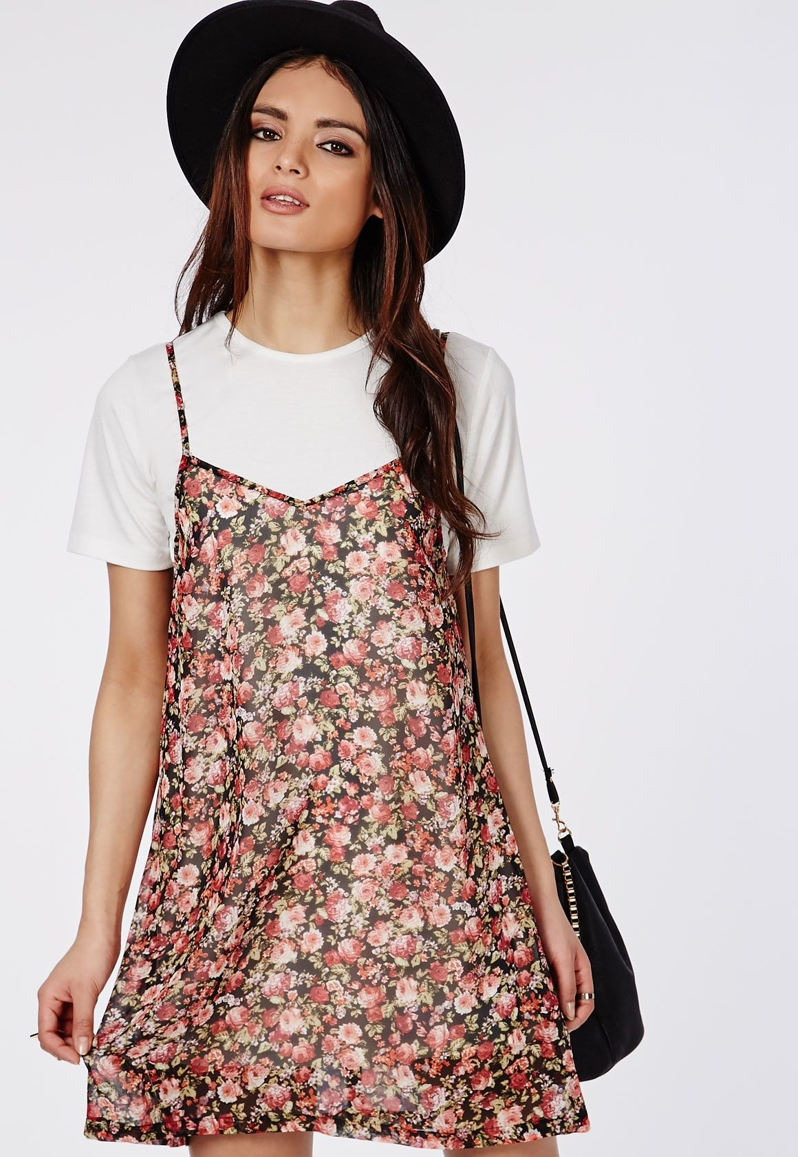 Floral swing dress with white tshirt underlay