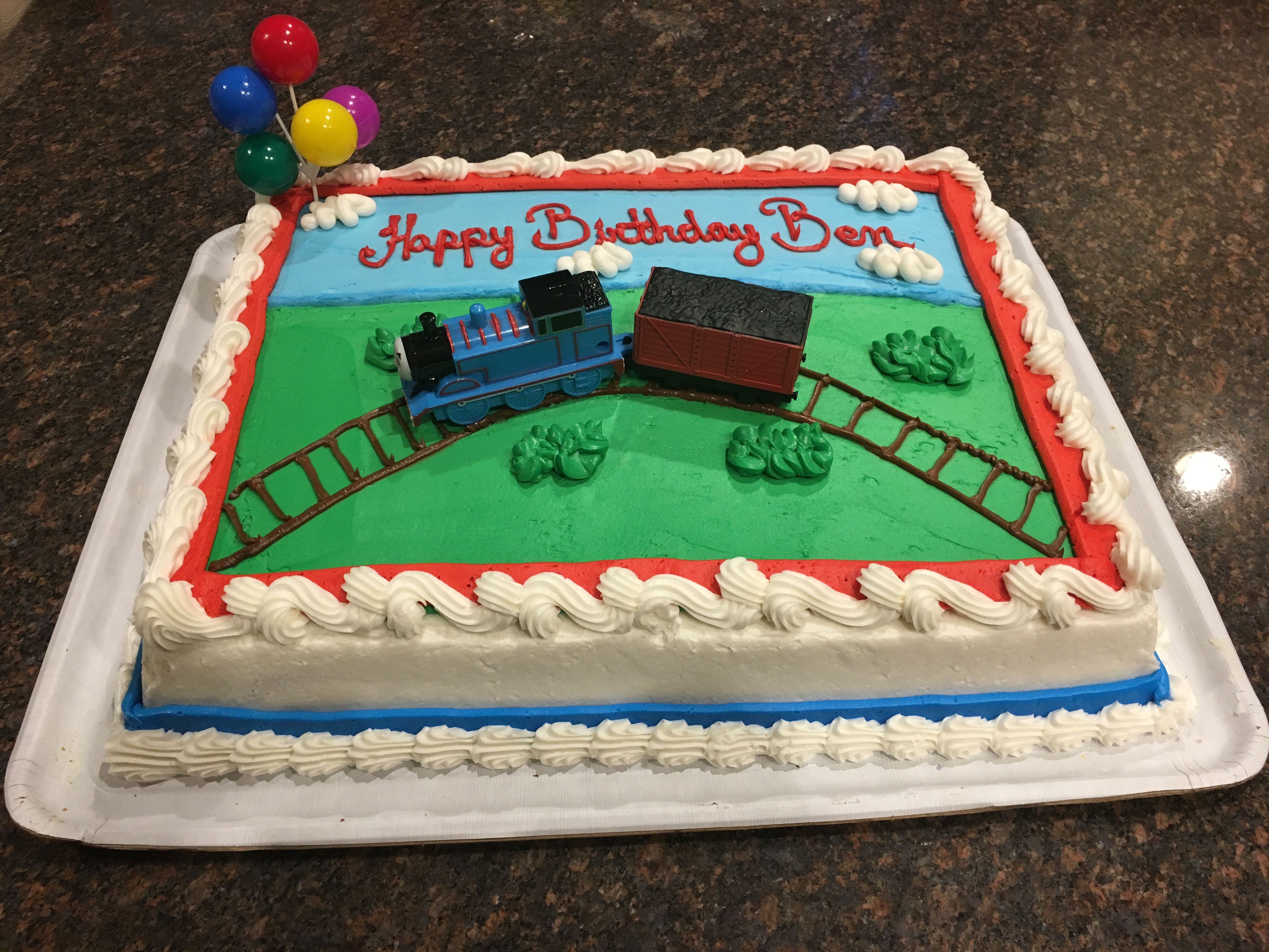 An Awesome Thomas The Train Cake Costco Helped Me Design For My