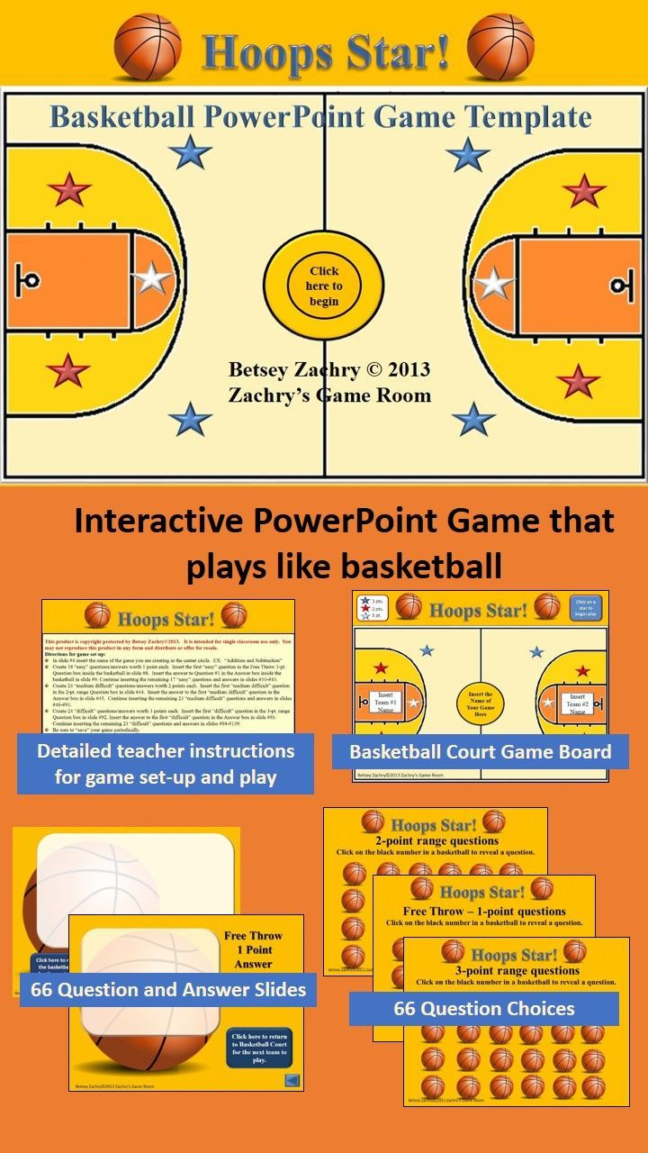 Hoops Star Basketball Powerpoint Game Template  Language Arts